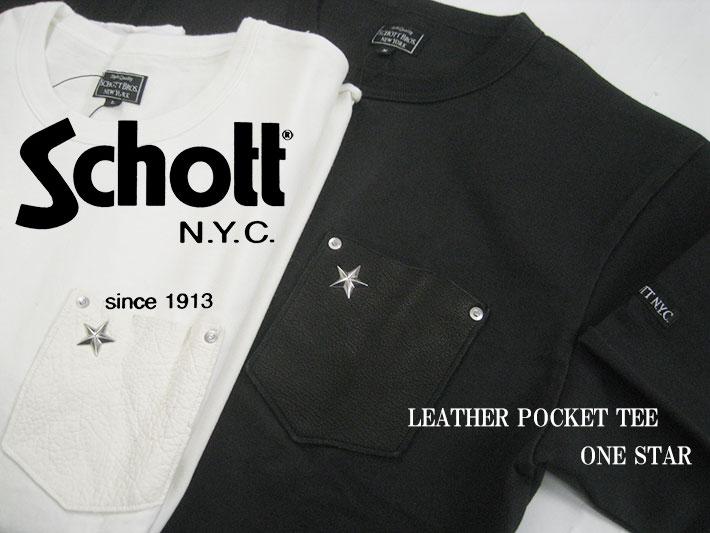 Schott レザーポケット ワンスター Tシャツ